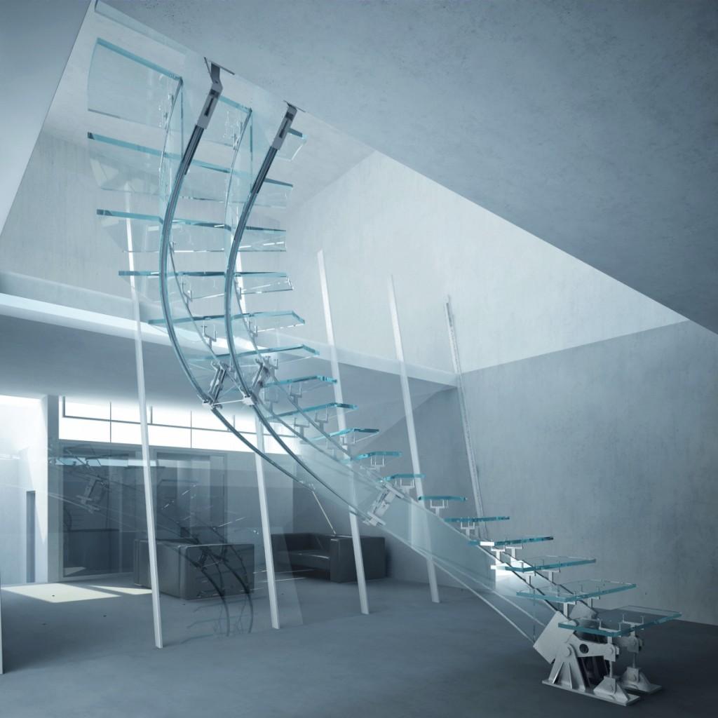 Progetto stairway to heaven una scala ad elica - Casa in acciaio e vetro ...